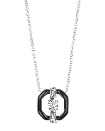 Oui 18k White Gold Open Enamel Pendant Necklace w/ Diamonds