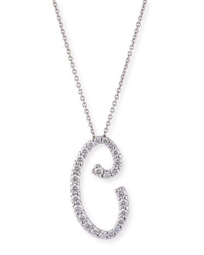 18k White Gold Diamond Pave Large Script Initial B Necklace