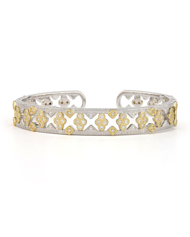 Open Quad & Kite Diamond Cuff Bracelet