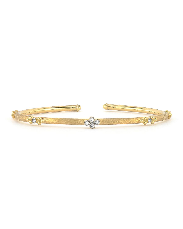 Provence 18k Flexible Brushed Bangle w/ Diamonds
