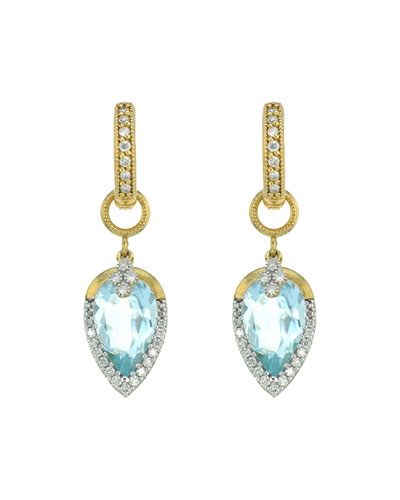 Provence Pave Teardrop Delicate Quad Earring Charms, Sky Blue Topaz