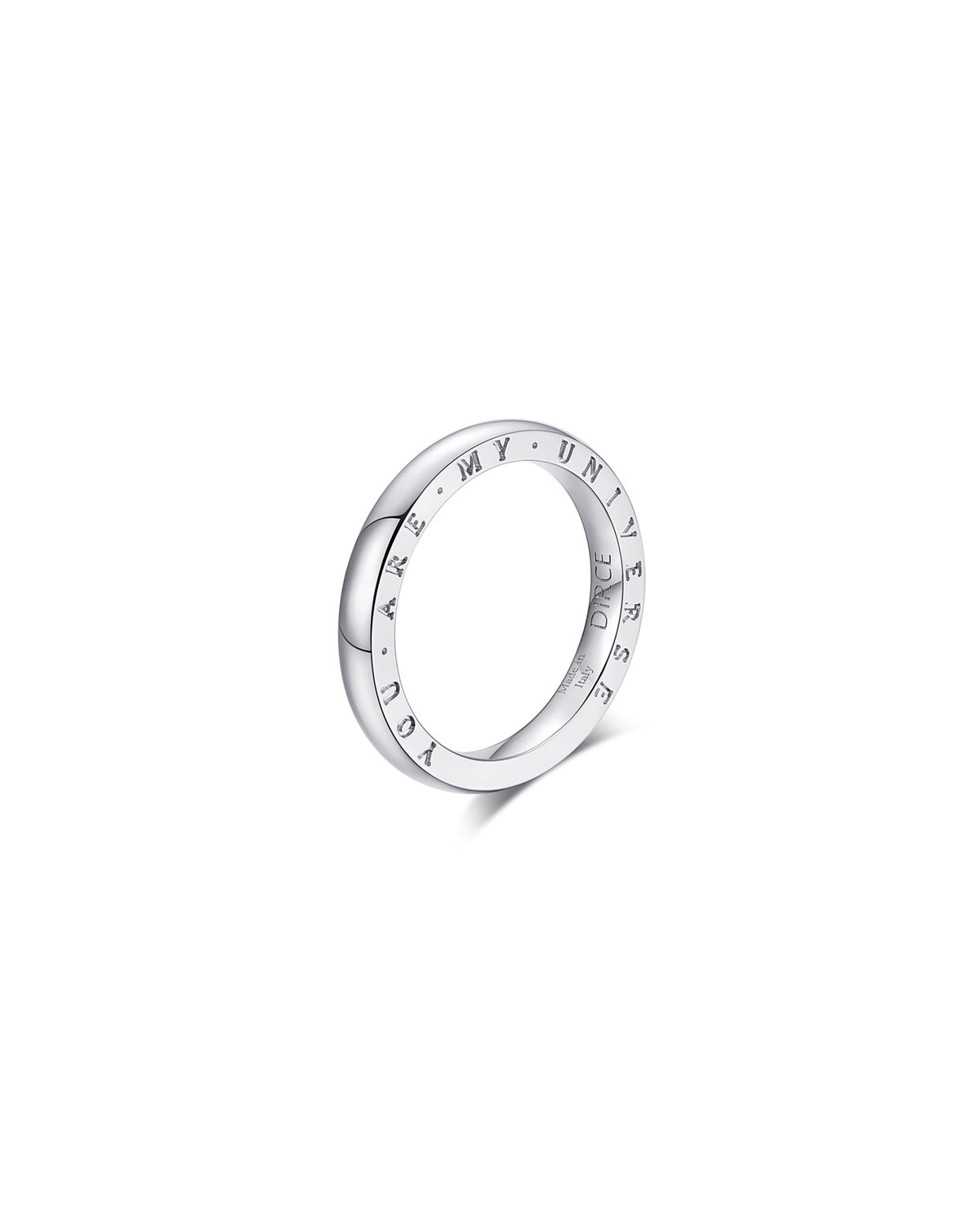 """Dirce """"You Are My Universe"""" 18k White Gold 2.5mm Band Ring"""