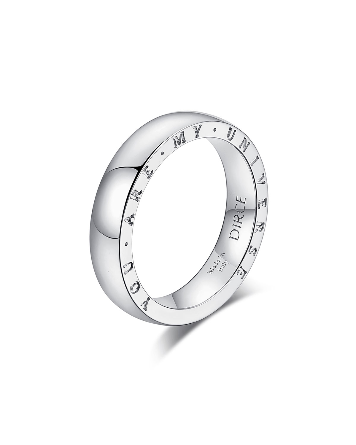 """Dirce """"You Are My Universe"""" 18k White Gold 4.3mm Band Ring, Size 6.25"""