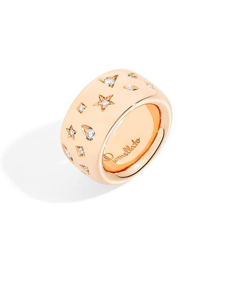 Pomellato Iconica Maxi 18K Rose Gold Diamond Ring, Size 52