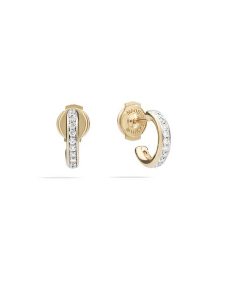 Pomellato Iconica 18k Rose Gold White Diamond Hoop Earrings