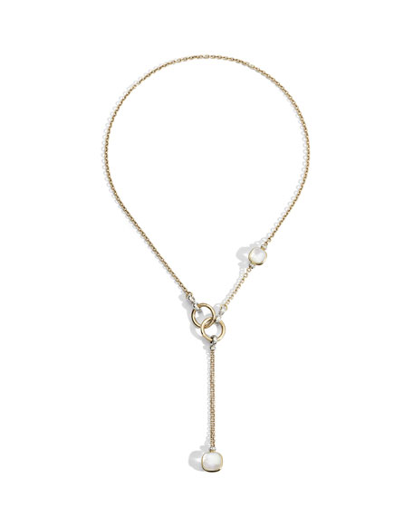 Pomellato Nudo 18K White Topaz/Mother-of-Pearl & Diamond Lariat Necklace
