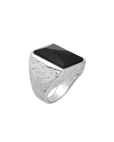 Men's Ara Square Black Onyx Ring