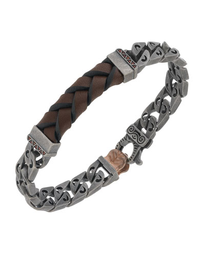 Men's Woven Leather/Silver Chain Bracelet w/ 18k Gold-Plated Clasp, Brown
