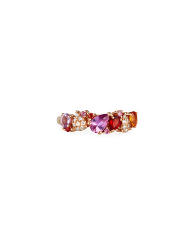 14k Rose Gold Sapphire Pear & Diamond Pave Ring, Size 7