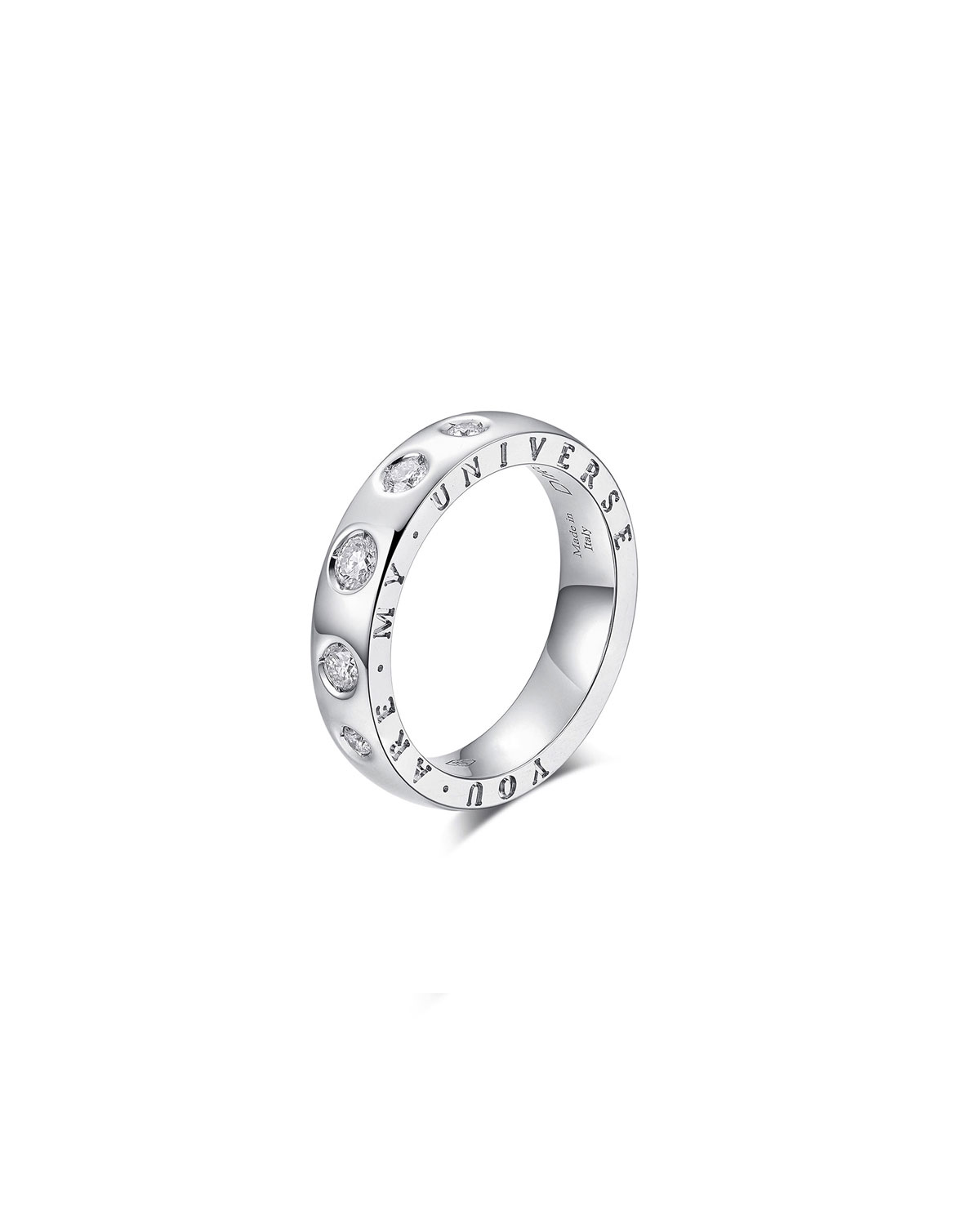 """Dirce """"You Are My Universe"""" 18k White Gold 5-Diamond 4.3mm Band Ring"""