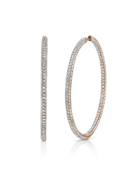 Anita Ko 18k White Gold Large Diamond Hoop Earrings