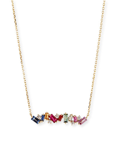 18k Diamond & Baguette Bar Necklace w/ Rainbow Sapphires