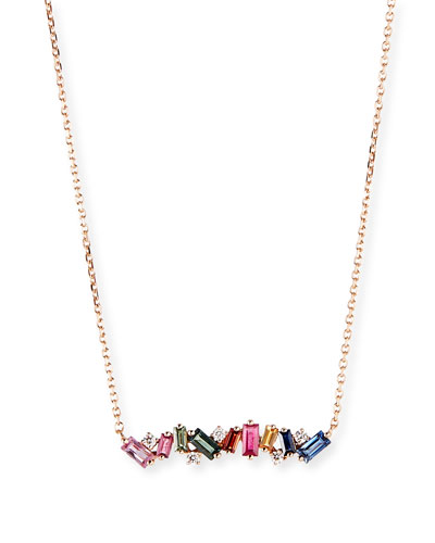 18k Rose Gold Diamond & Baguette Bar Necklace w/ Rainbow Sapphires