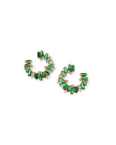 18k Small Emerald Spiral Hoop Earrings w/ Diamonds