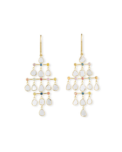 Polki 18k Diamond-Slice & Mixed Sapphire Chandelier Earrings