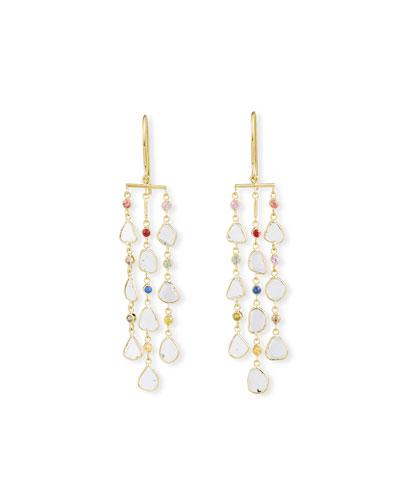 Polki 18k Diamond-Slice & Mixed Sapphire Dangle Earrings