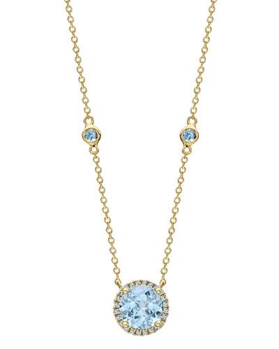 Grace 18k Blue Topaz & Diamond Necklace