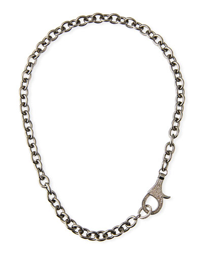 Chain Necklace w/ Diamond Clasp, 18