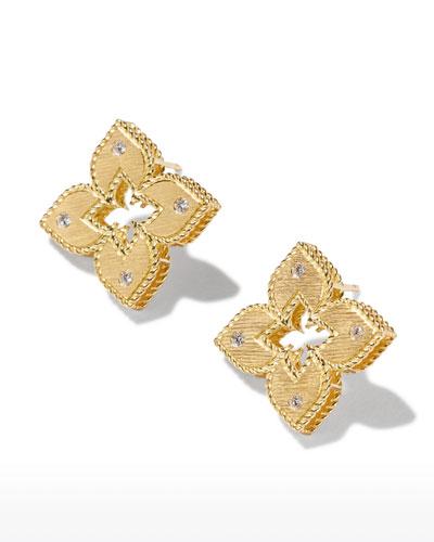 Venetian Princess 18k Diamond Open Flower Stud Earrings