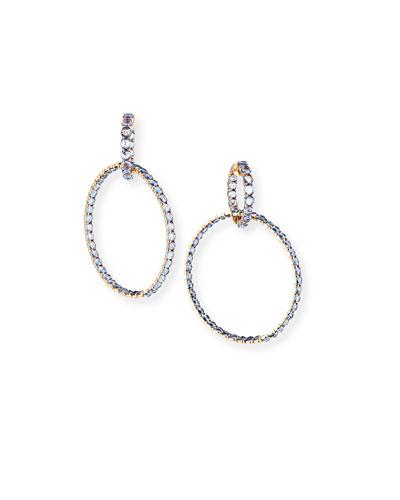 18k Rose Gold Blue Sapphire Double-Hoop Earrings
