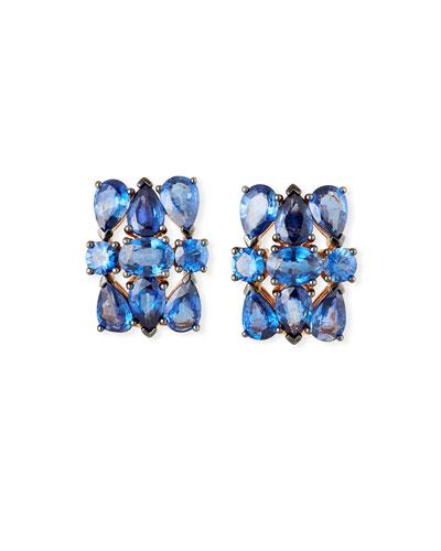 Mixed-Cut Blue Sapphire Earrings