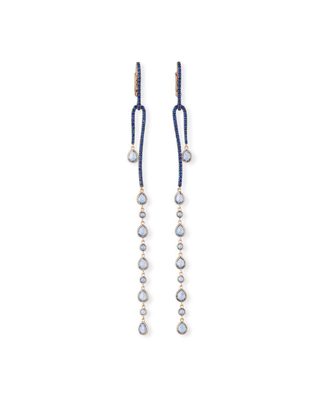 18k Rose Gold Sapphire Dangle Earrings