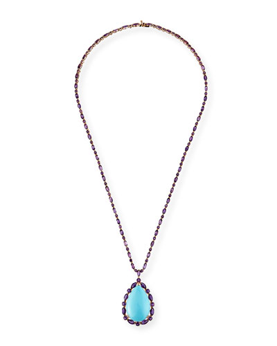 18k Rose Gold Turquoise Pear Pendant Necklace w/ Amethyst