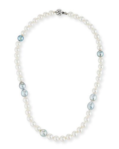 18k White Gold White & Gray Pearl Necklace, 18