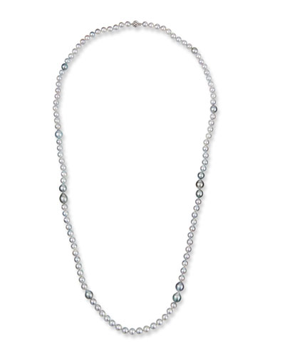 18k White Gold Long Silver, Blue & Gray Pearl Necklace, 40