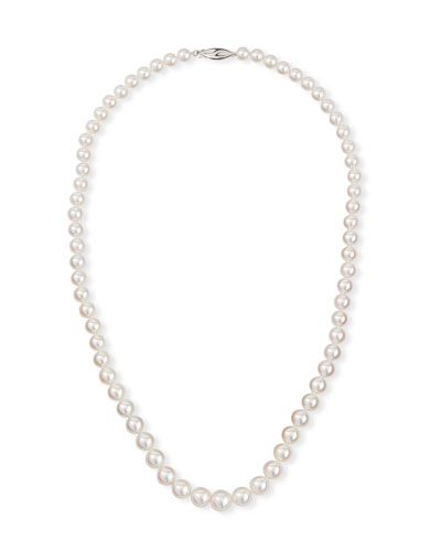 18k White Gold Graduated Pearl Necklace, 20