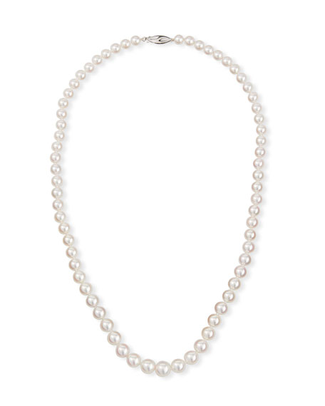 "Belpearl 18k White Gold Graduated Pearl Necklace, 20""L"