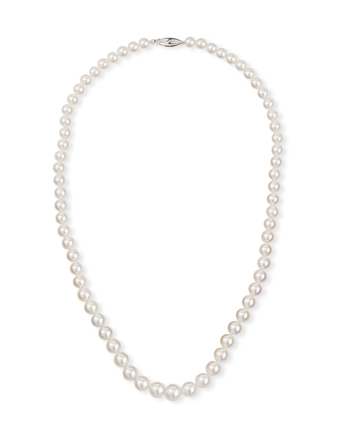 18k White Gold Graduated Pearl Necklace