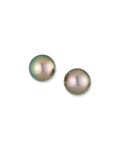 10mm Tahitian Black Pearl Earrings