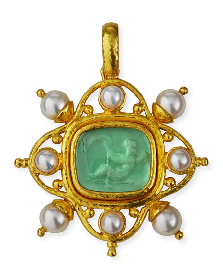Elizabeth Locke 19k Venetian Glass Cherub Intaglio Pendant w/ Pearls
