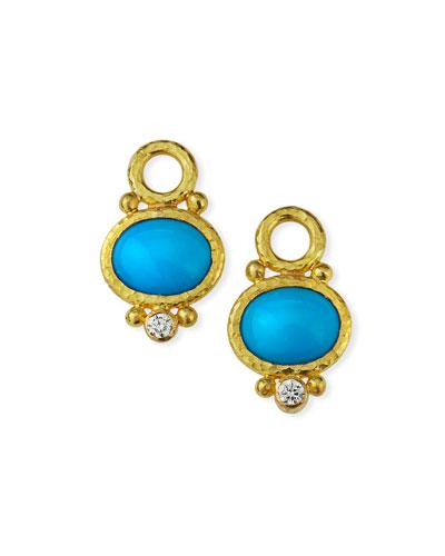 19k Turquoise & Diamond Earring Pendants