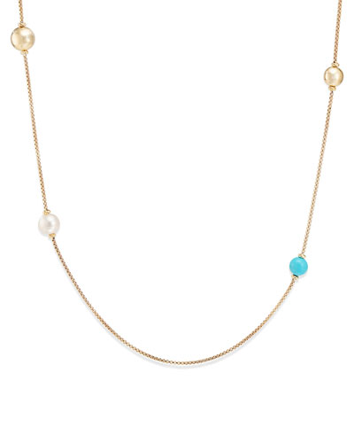 Solari XL 18k Chain Necklace w/ Turquoise & Pearls
