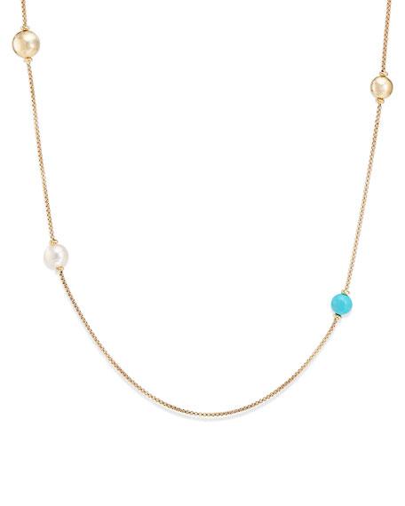 David Yurman Solari XL 18k Chain Necklace w/ Turquoise & Pearls