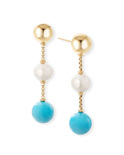 Solari XL 18k Drop Earrings w/ Turquoise & Pearls