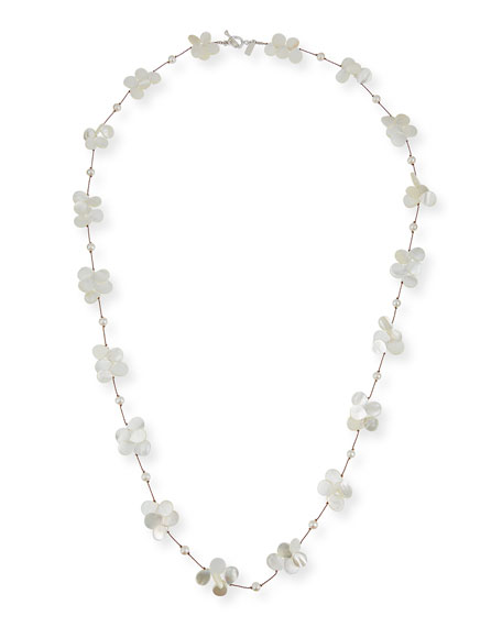 "Margo Morrison White Pearl & Mother-of-Pearl Necklace, 35""L"