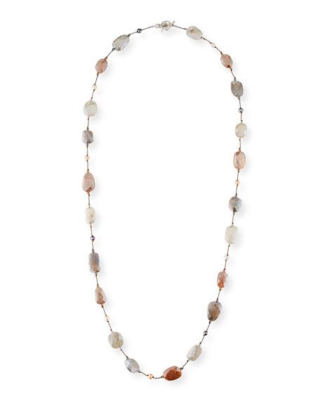 "Margo Morrison Moonstone & Pearl Necklace, 35""L"