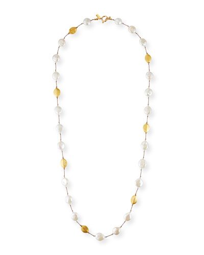 Long Coin Pearl, Pearl, Gold & Crystal Necklace