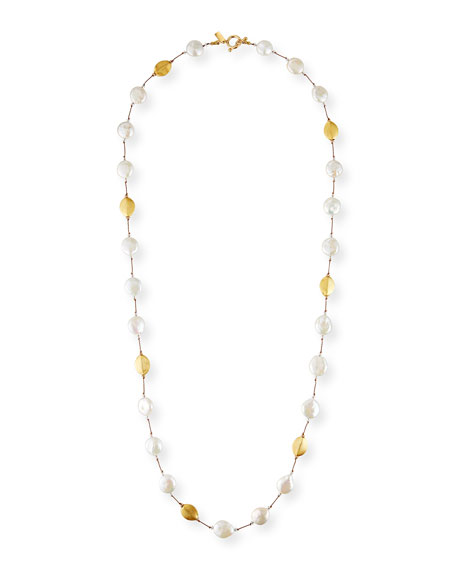 Margo Morrison Long Coin Pearl, Pearl, Gold & Crystal Necklace
