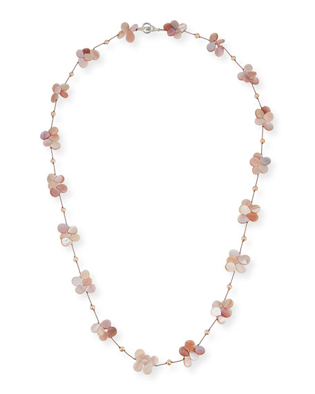 """Margo Morrison Pink Pearl & Mother-of-Pearl Necklace, 35""""L"""