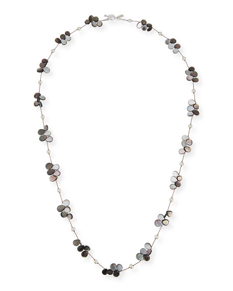 """Margo Morrison Pearl, Abalone & Mother-of-Pearl Necklace, 35""""L"""