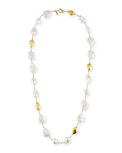 Long Baroque Pearl & Gold Necklace