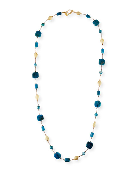 Margo Morrison Long Apatite & Gold Bead Necklace