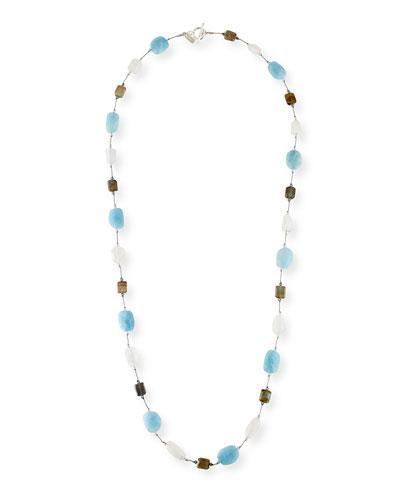 Long Aqua, Moonstone & Labradorite Necklace