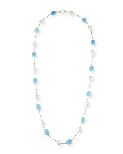 Aquamarine & Pearl Coin Necklace, 35