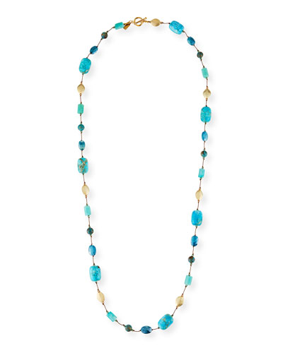 Long Amazonite, Jasper & Moonstone Necklace