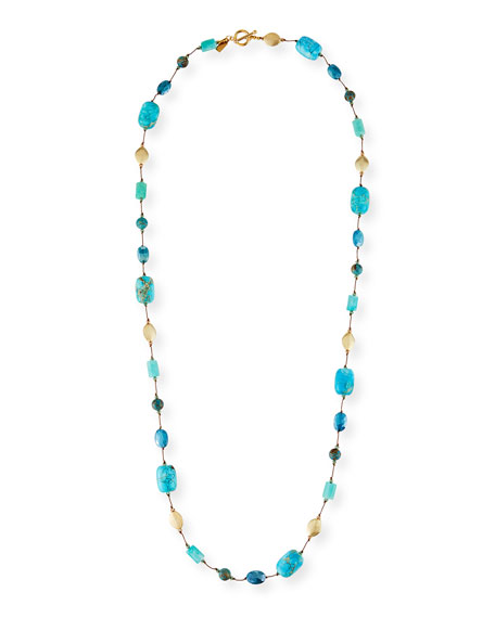 Margo Morrison Long Amazonite, Jasper & Moonstone Necklace